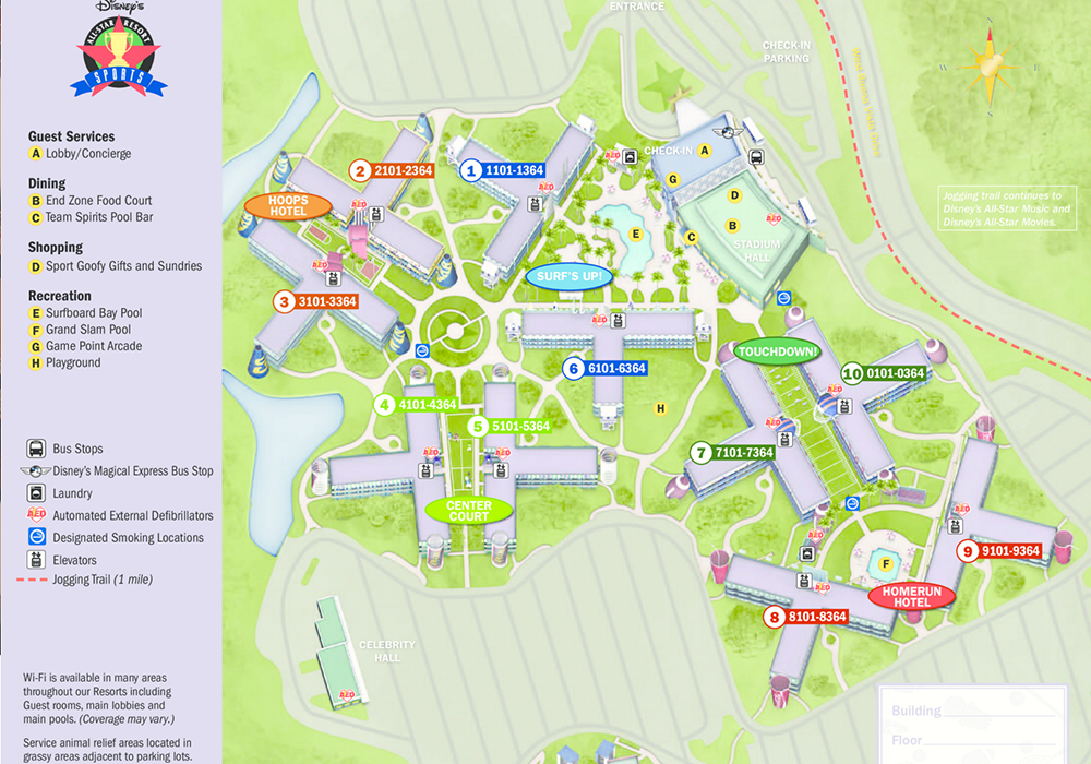 map of disney's-all-star sports