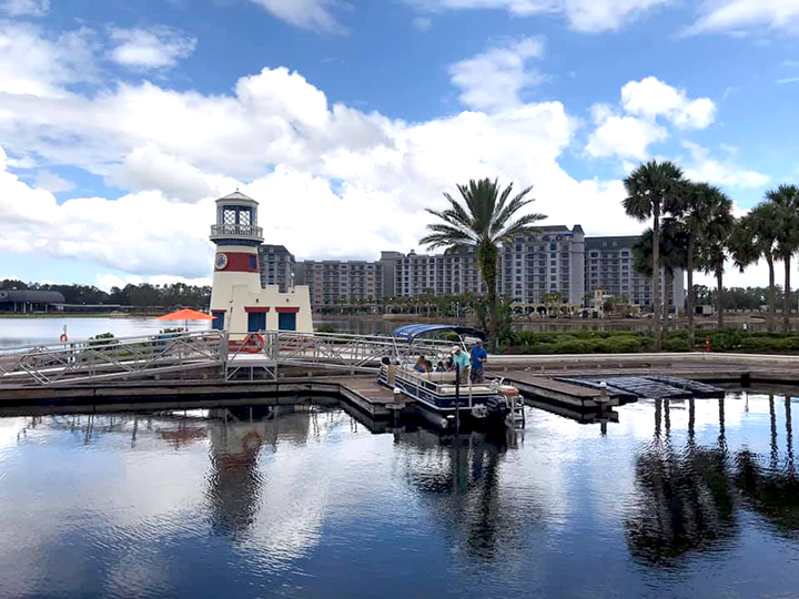Boat Dock at Disney's Caribbean Beach Resort with Disney's Riviera Resort in the Background