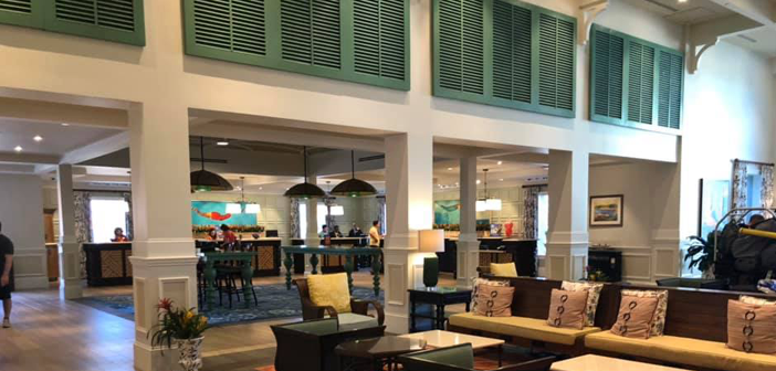 Disney's Caribbean Beach Resort lobby and check-in area inside Old Port Royale
