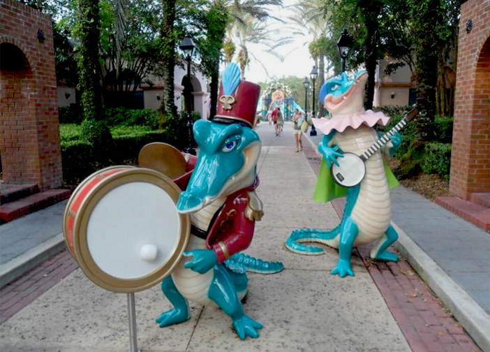 Disney's Port Orleans French Quarter streets life sized gators on the walkways