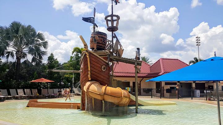 Kids splash and play pool area at Caribbean Beach Resort at Disney World