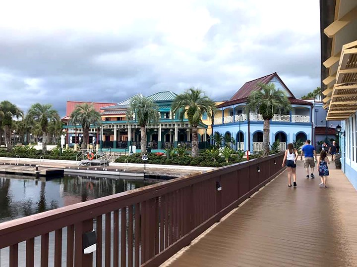 Outdoor buildings in the Old Port Royale Area at Caribbean Beach Resort