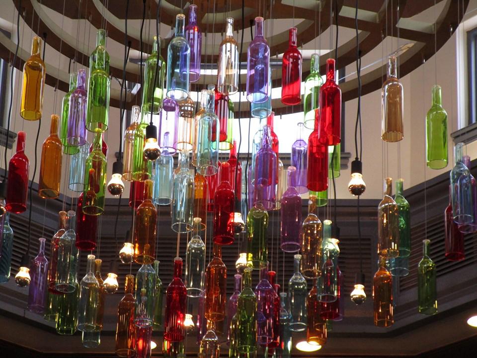Wine bottle chandelier at Port Orleans French Quarter