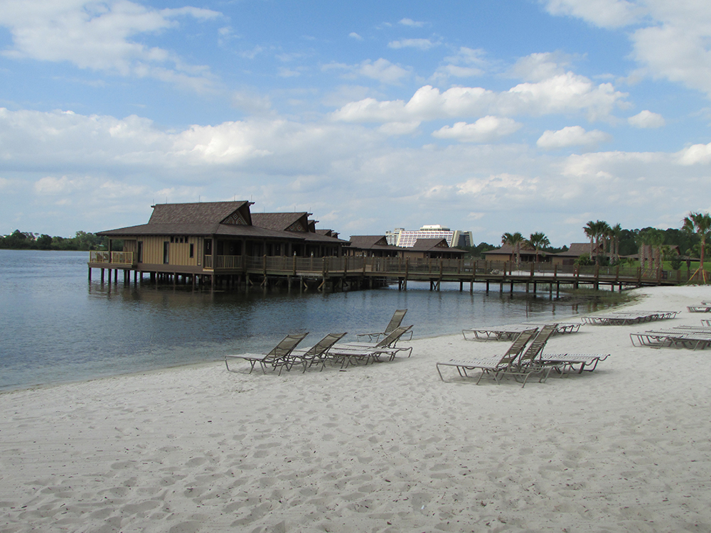 Disney's Polynesian Village Resort bungalows on the water