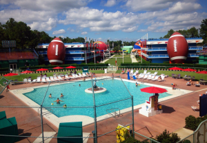 baseball diamond with football view pool area disney's all-star sports