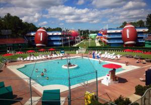 baseball diamond with football view pool area disney's all-star sports