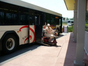 Disney person on bus wheelchair