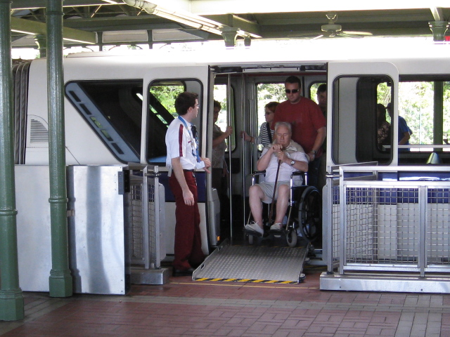 Riding The Monorail With Wheelchairs And Ecvs Electric Convenience Vehicles Or Mobility Scooters