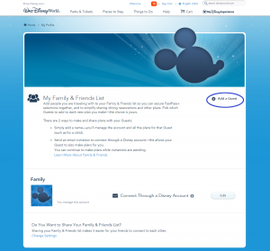 Add a Friend or Family Member to your Disney World account