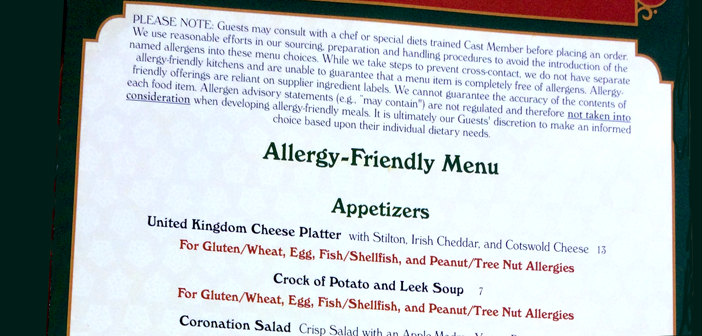 Allergy menus at walt disney world
