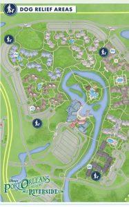 Dog walking map for Disney's Port Orleans Riverside Resort