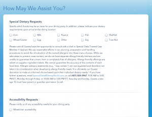 allergy and special dietary needs form disney world