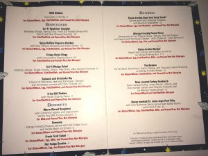Allergy menu at Disney World