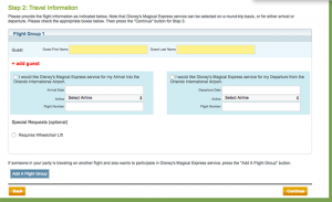 Disney form for Magical Express