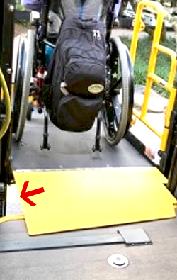 Magical Express wheelchair on lift with gap