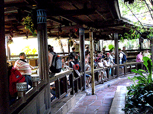Enchanted Tiki Room preshow and queue area