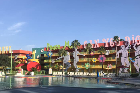 1960's building and pool Pop Century Resort Disney