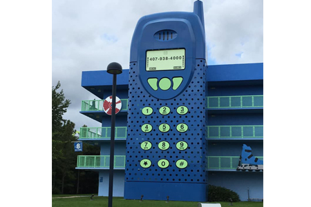 cell phone at Disney's Pop Century 1990's section
