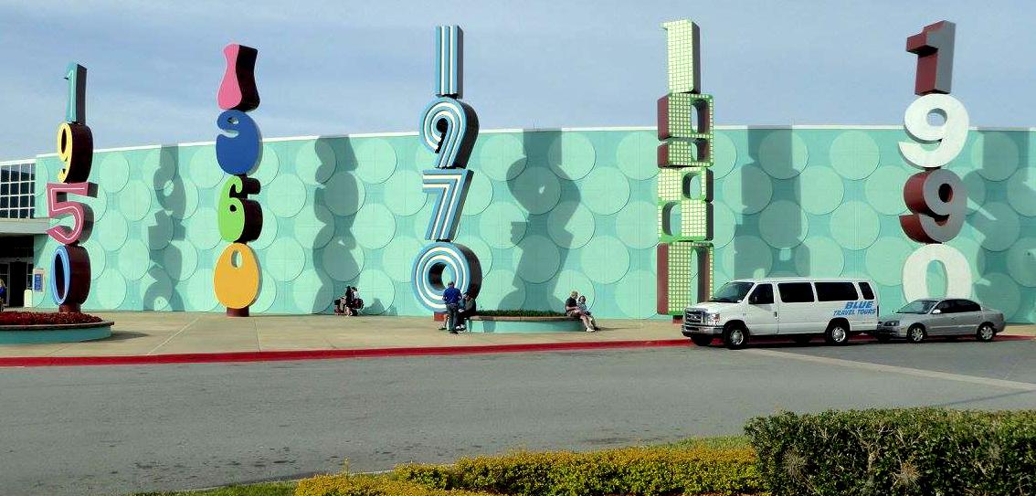 Decades signs at Disney World's Pop Century