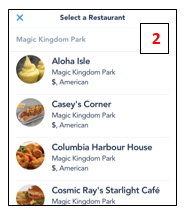 Mobile ordering at Disney World available restaurants list