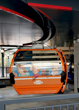 Close up of gondola at Disney's skyliner station