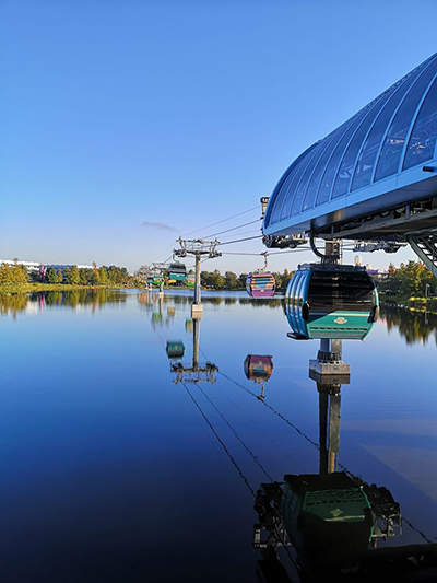 Disney World Skyliner Gondola over water