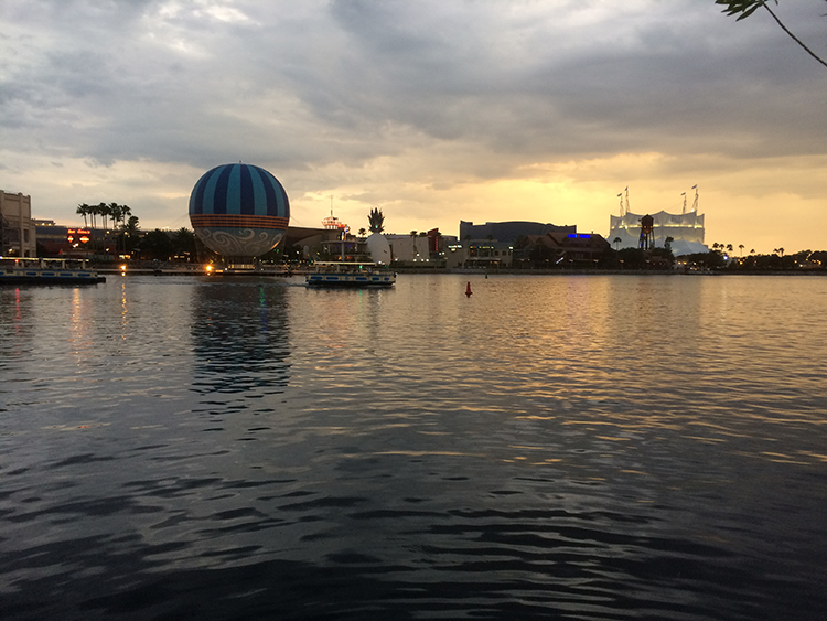 Disney Springs in the rain at Disney World