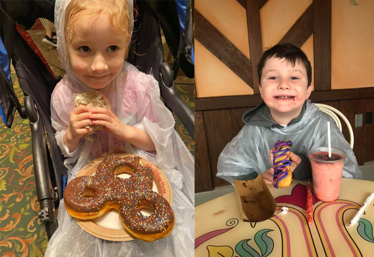 Kids eating snacks while waiting out the rain at Disney World