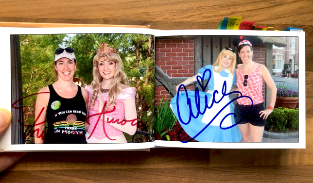 Katie Penn's own autograph book with photos from prior Disney World trips