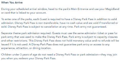 Disney reservations disclaimer