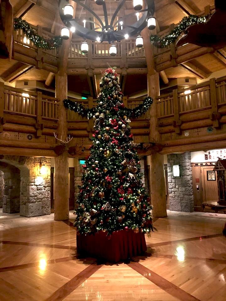 Villa lobby at Christmas time