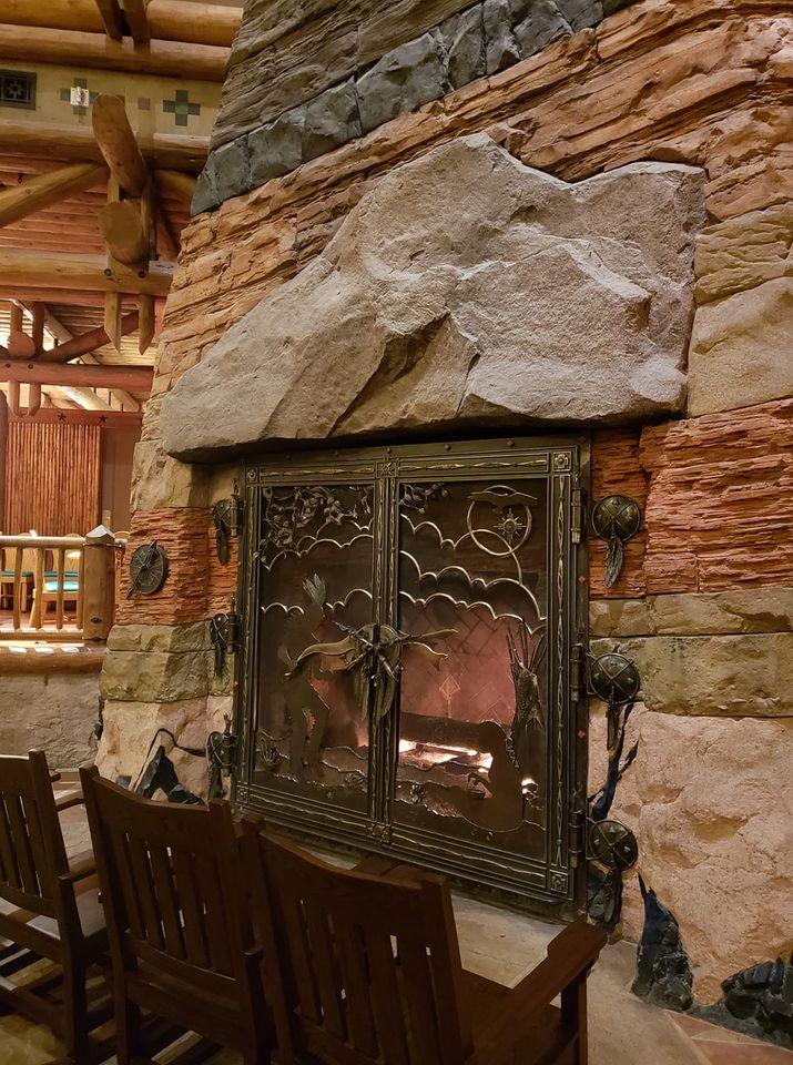 Wilderness Lodge lobby fireplace close up