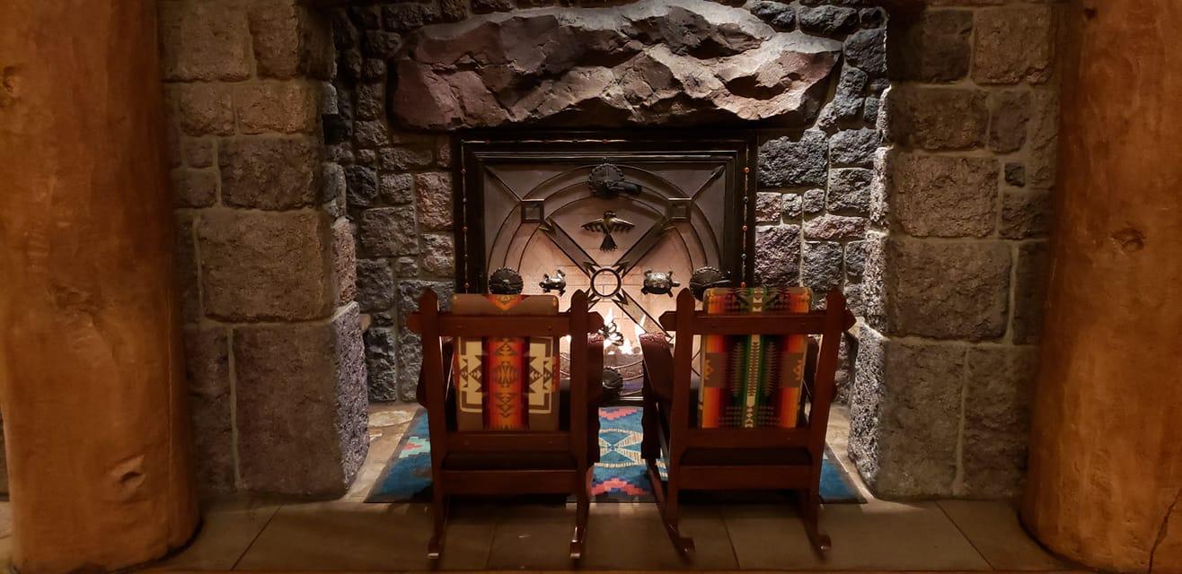 Villas lobby fireplace
