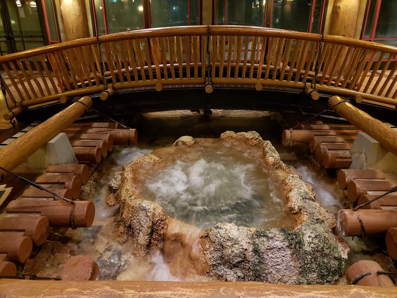 Bridge over indoor water pool in Wilderness Lodge Lobby