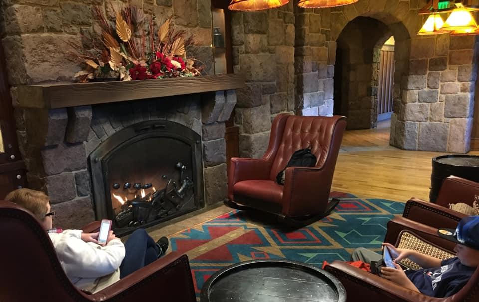 Carolwood fireplace sitting area (photo by Harold Pyett)