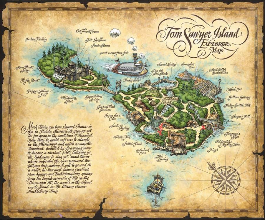 Tom Sawyer Island map with accessibility marked