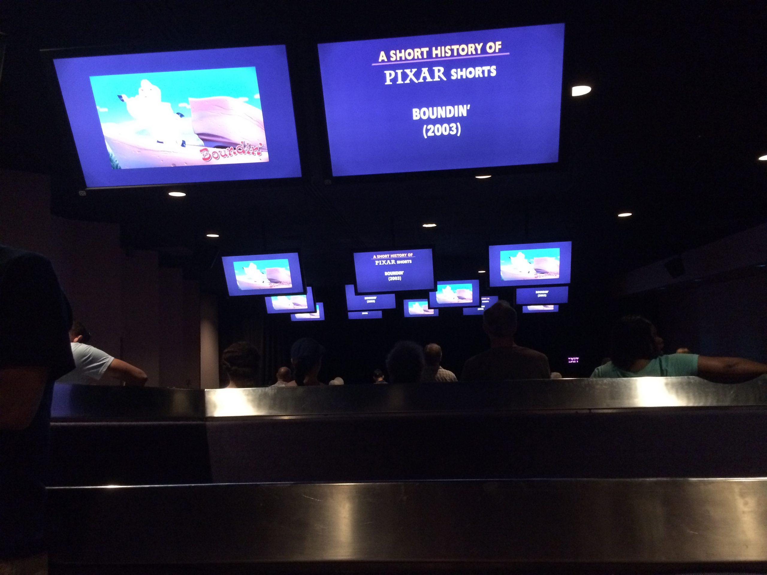 Disney Pixar Short Film Festival pre-show standing area