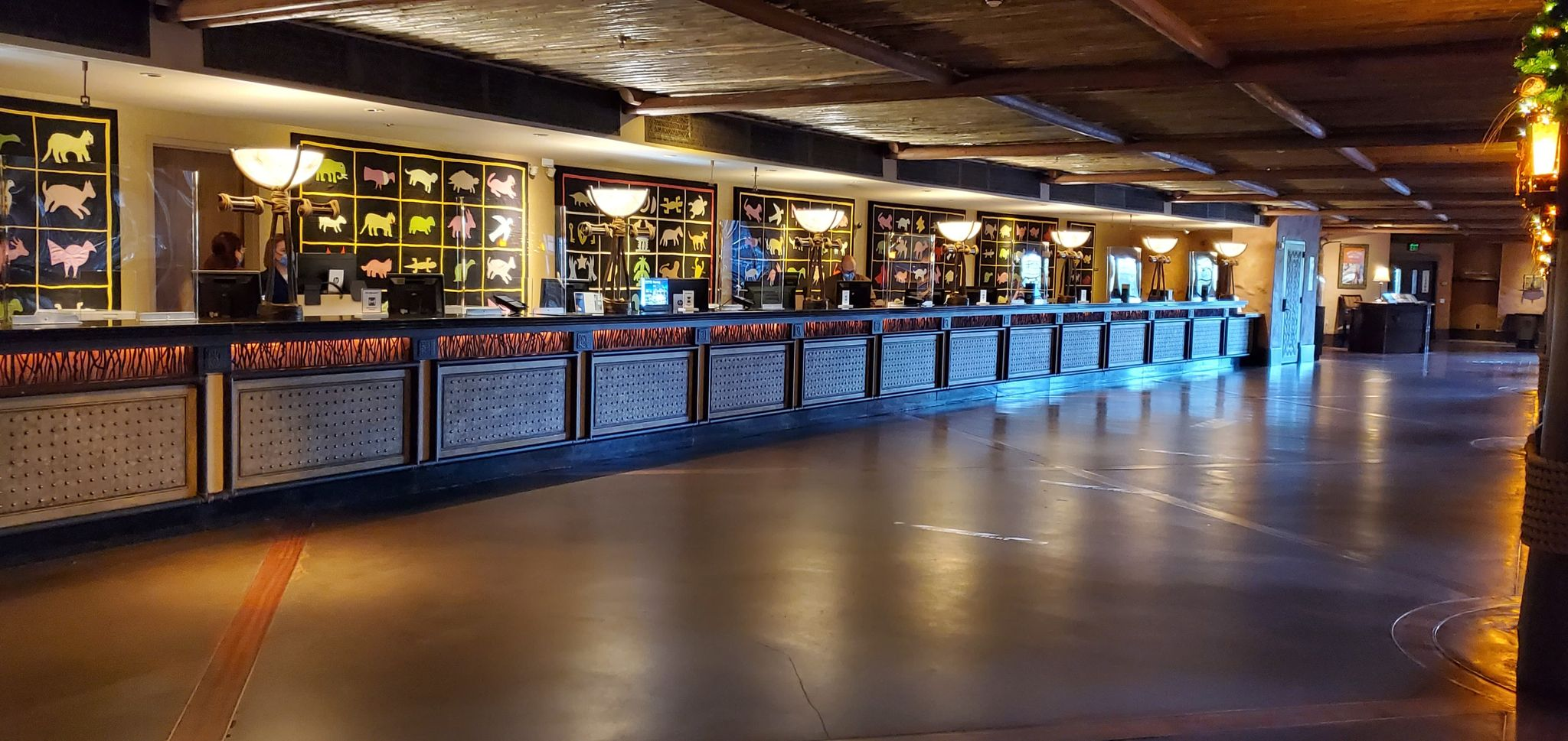 Check-in area in Jambo House at Animal Kingdom Lodge