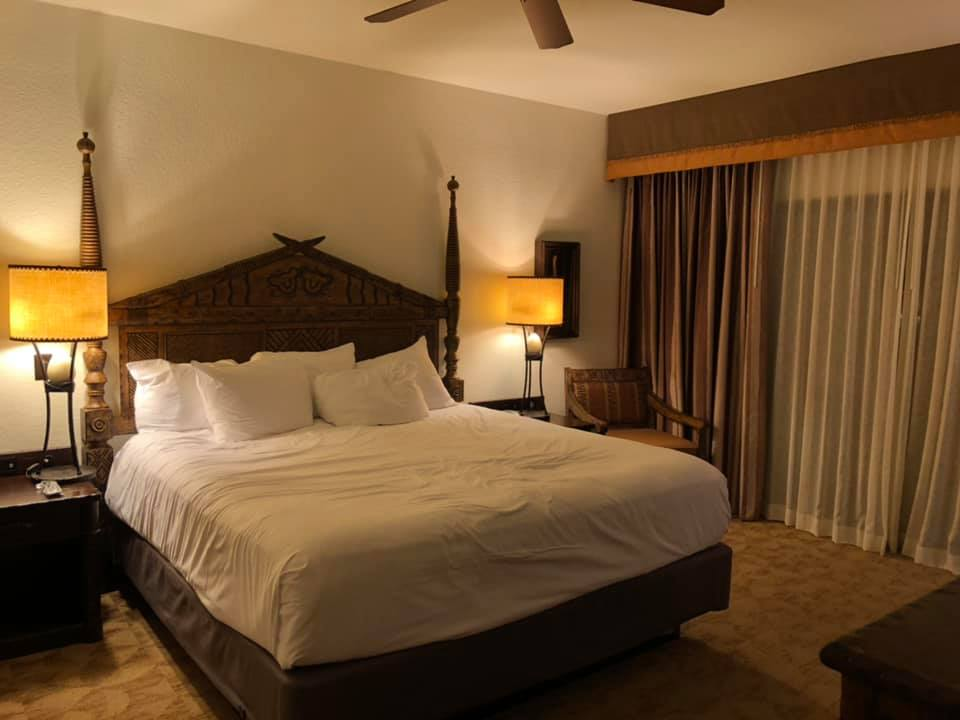 One bedroom king bed area in Kidani Village at Disney's Animal Kingdom Lodge
