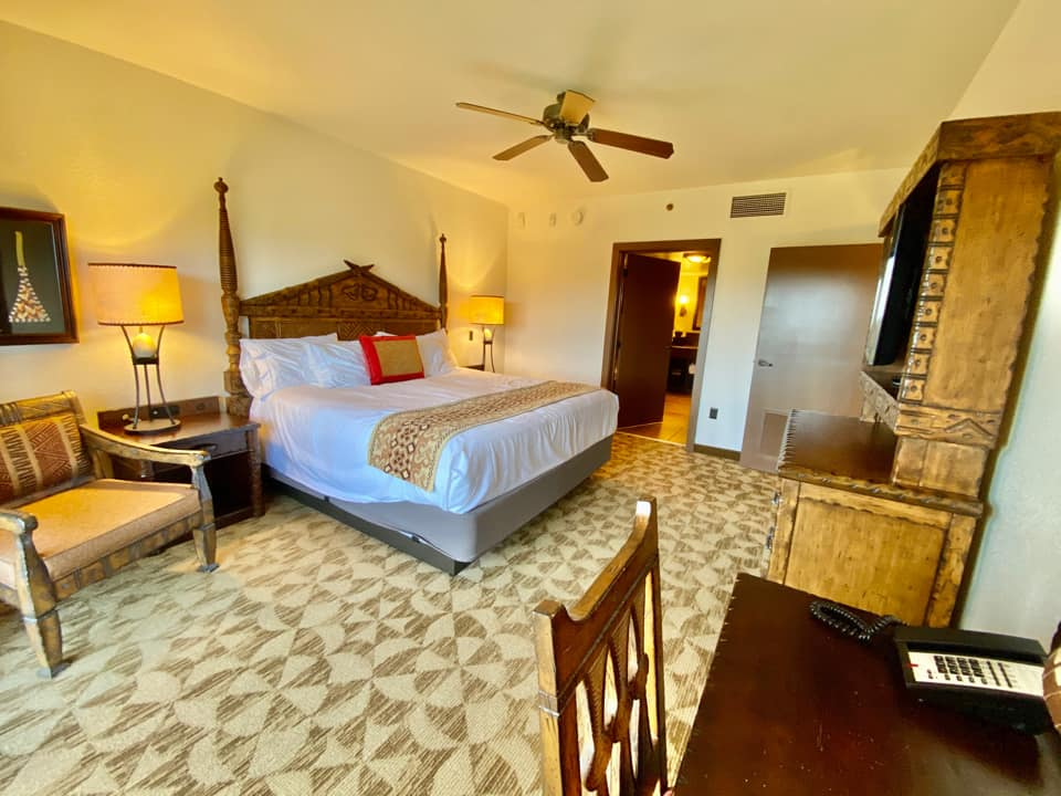 Room with the king bed in the Two-Bedroom Villa