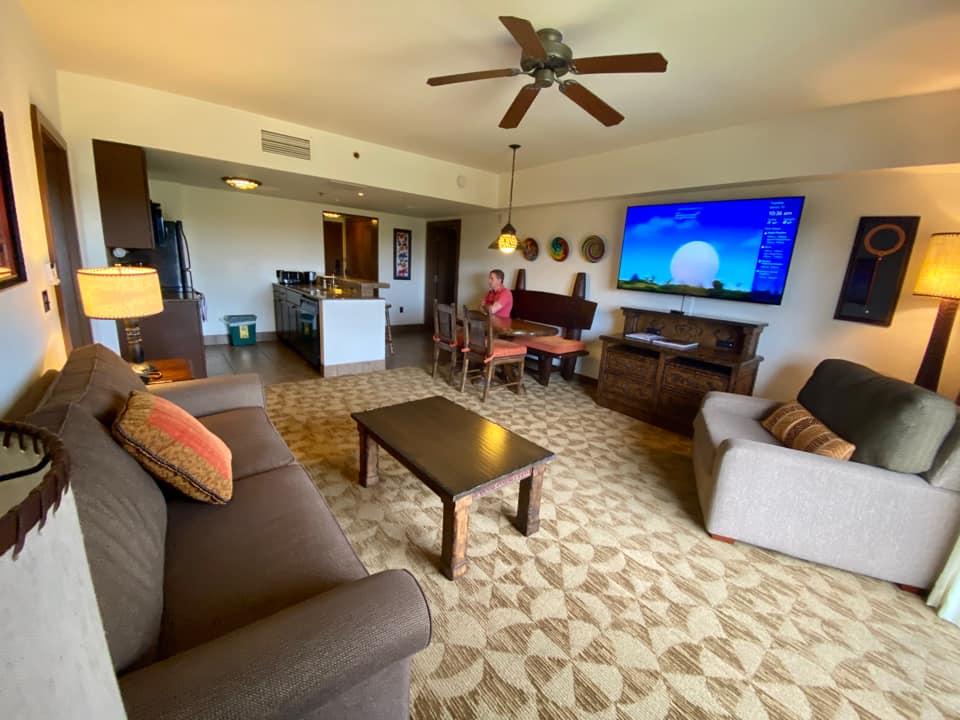 Living area in the Two-Bedroom Villa at Kidani Village in Disney's Animal Kingdom
