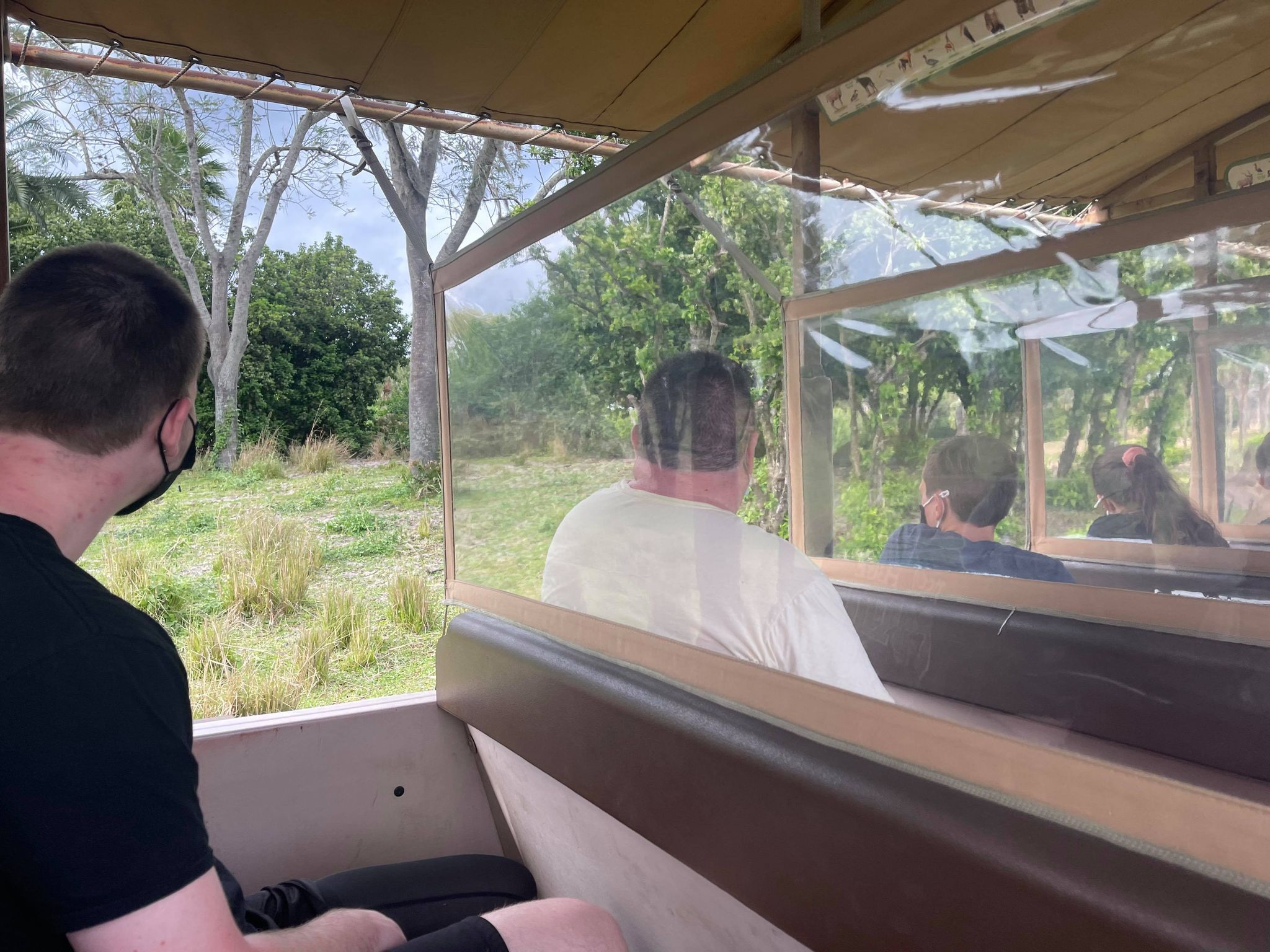 Kilimanjarol Safaris Animal Kingdom Disney World ride car with dividers due to COVID safety