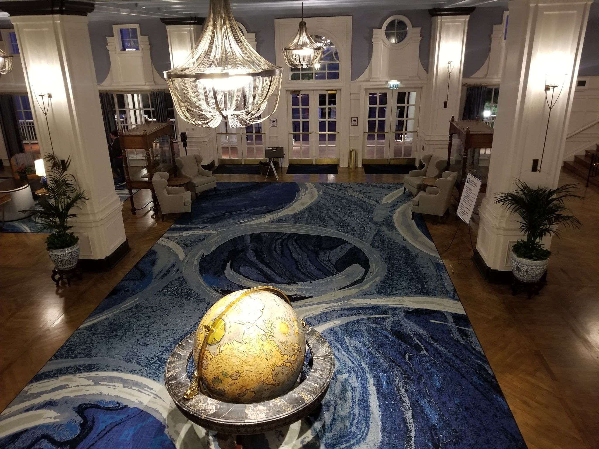 Disney's Beach Club Resort lobby with globe