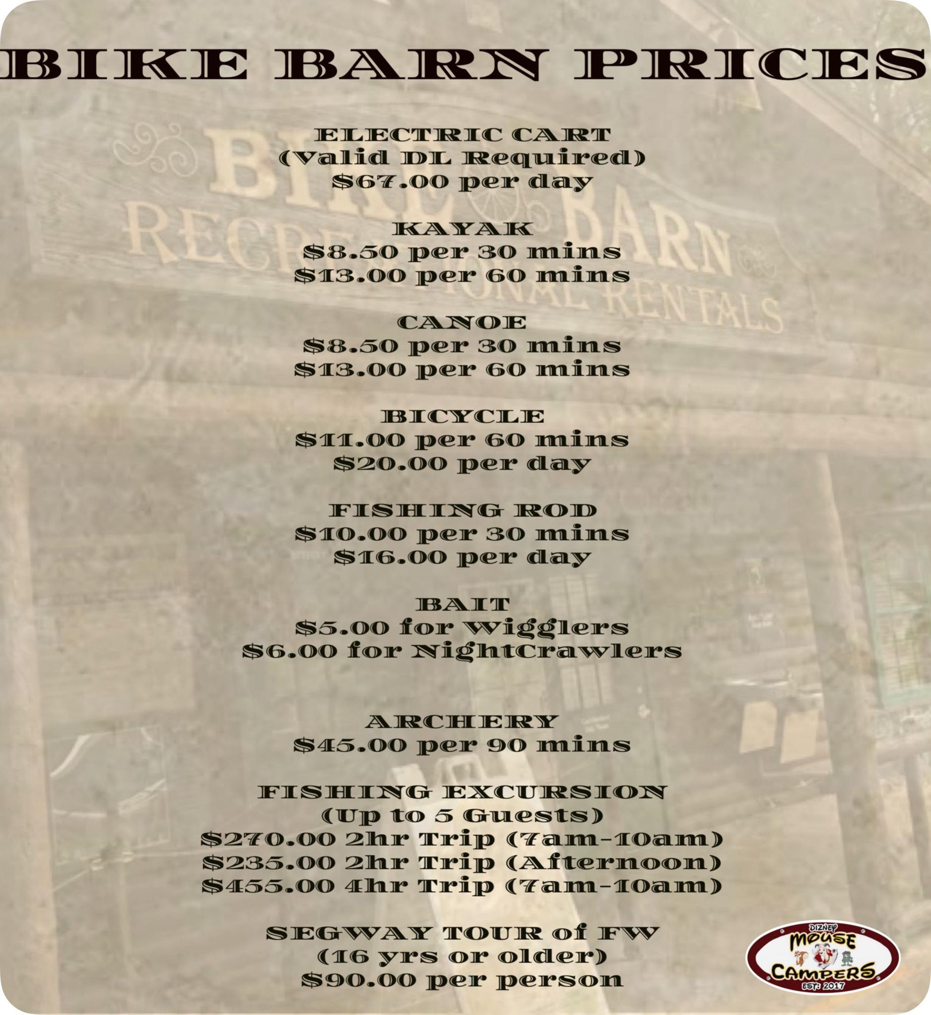 Bike Barn Price Sign at Fort Wilderness