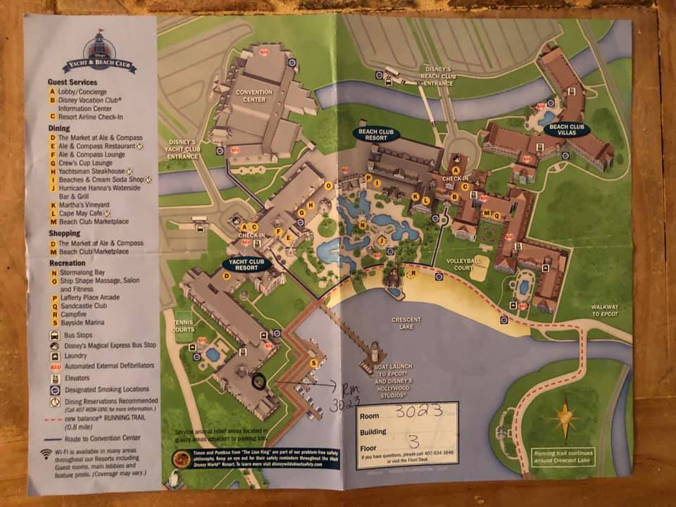 Map of Disney's Beach Club and Yacht Club Resorts and Villas